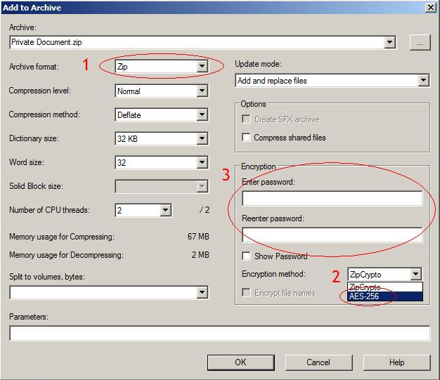 how to password protect a zip file 7zip